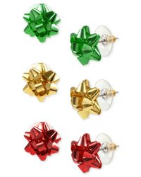Charter Club - Metallic Gold-tone 3-pc. Set Colored Bow Stud Earrings - Lyst