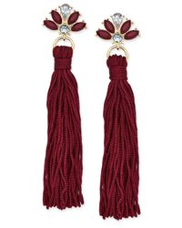 INC International Concepts - Gold-tone Multi-stone Colored Tassel Drop Earrings - Lyst