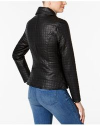 INC International Concepts - Black Quilted Faux-leather Moto Jacket - Lyst