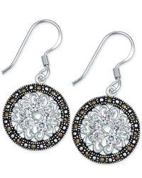 Macy's - White Marcasite & Crystal Flower Disc Drop Earrings In Fine Silver-plate - Lyst