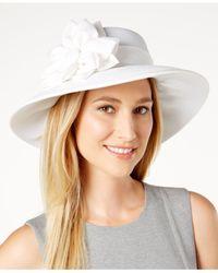 August Accessories   White Shantung-textured Down-brim Hat   Lyst
