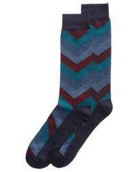Perry Ellis   Blue Men's Performance Chevron Socks for Men   Lyst