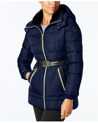 Vince Camuto - Blue Faux-leather-trimmed Puffer Coat - Lyst