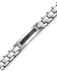 Macy's   Multicolor Men's Black Diamond Id Bracelet In Stainless Steel (3/8 Ct. T.w.) for Men   Lyst