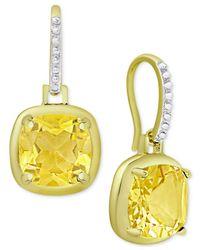Macy's - Metallic Citrine Cushion Drop Earrings (3-5/8 Ct. T.w.) In 18k Gold-plated Sterling Silver - Lyst