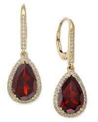 Macy's - Red Garnet (2-3/4 Ct. T.w.) And White Sapphire (1/4 Ct. T.w.) Pear Drop Earrings In 14k Gold - Lyst