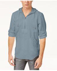 INC International Concepts Blue Men's Half-zip Shibui Hoodie for men