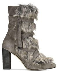 Charles David - Gray Alberta Faux-fur Booties - Lyst