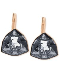 Swarovski | Pink Rose Gold-tone Trillion-cut Leverback Earrings | Lyst