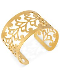 Hint Of Gold | Metallic 14k Gold-plated Filigree Cuff Bracelet | Lyst