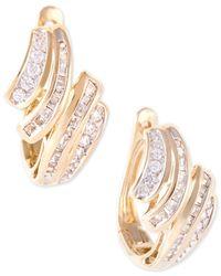 Wrapped in Love - Metallic Diamond Wave Hoop Earrings (1/2 Ct. T.w.) In 10k Gold - Lyst