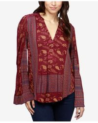 Lucky Brand | Red Mixed-print Peasant Top | Lyst