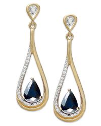 Macy's - Blue 14k Gold Necklace, Sapphire (9/10 Ct. T.w.) And Diamond (1/10 Ct. T.w.) Pear-shaped Drop Earrings - Lyst