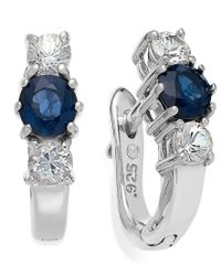 Macy's - Sterling Silver Earrings, Blue (5/8 Ct. T.w.) And White Sapphire (1/2 Ct. T.w.) Three-stone Earrings - Lyst