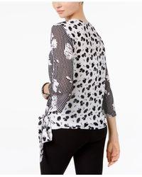 Cable & Gauge - Black Printed Wrap Shirt - Lyst