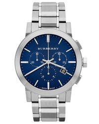 Burberry | Blue Watch, Men's Swiss Chronograph Stainless Steel Bracelet 42mm Bu9363 for Men | Lyst
