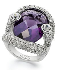 ABS By Allen Schwartz | Metallic Ring, Silver-tone Faceted Purple Stone Pave Crystal Ring | Lyst