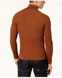 INC International Concepts - Brown Men's Ribbed Turtleneck Sweater for Men - Lyst