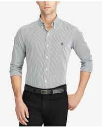 Polo Ralph Lauren - Black Hairline-striped Poplin Shirt for Men - Lyst