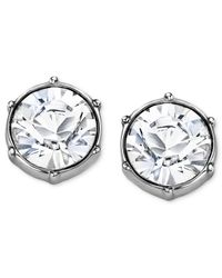 Swarovski - White Earrings, Rhodium-plated Crystal Round Stud Earrings - Lyst