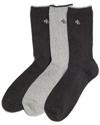 Lauren by Ralph Lauren - Gray Women's Ribbed Cotton Trouser 3 Pack Socks - Lyst