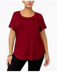 Alfani - Red Plus Size High-low Tee - Lyst