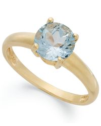 Macy's | Metallic 18k Gold Over Sterling Silver Ring, Aqua Topaz March Birthstone Ring (1-1/2 Ct. T.w.) | Lyst