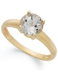 Macy's - Metallic 18k Gold Over Sterling Silver Ring, White Topaz April Birthstone Ring (1-1/2 Ct. T.w.) - Lyst