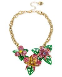 Betsey Johnson - Metallic Gold-tone Multi-stone Flower & Leaf Statement Necklace - Lyst