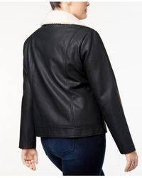 Style & Co. - Black Plus Size Fleece-collar Faux-leather Jacket, - Lyst