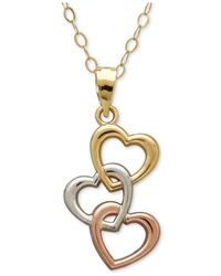 Macy's - Metallic Tri-tone Triple Heart Pendant Necklace In 10k Yellow, White And Rose Gold - Lyst