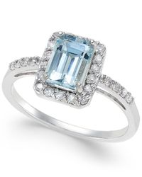 Macy's - Blue Aquamarine (1 Ct. T.w.) And Diamond (1/4 Ct. T.w.) Ring In 14k White Gold - Lyst