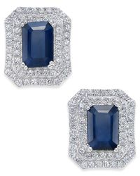 Macy's - Metallic Blue Sapphire (3 Ct. T.w.) And White Sapphire (1 Ct. T.w.) Rectangular Stud Earrings In 14k White Gold - Lyst