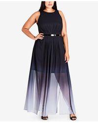 City Chic - Blue Trendy Plus Size Ombré Maxi Dress - Lyst