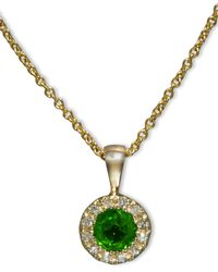 Effy Collection - Green Emerald (1/3 Ct. T.w.) And Diamond Accent Round Button Pendant In 14k Gold - Lyst