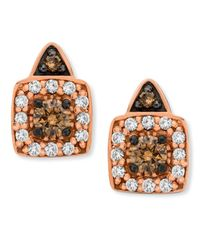 Le Vian | Multicolor Chocolate By Petite Chocolate And White Diamond Stud Earrings In 14k Rose Gold (1/3 Ct. T.w.) | Lyst