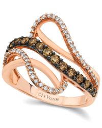 Le Vian   Metallic Chocolate By Petite Chocolate And White Diamond Wave Ring (5/8 Ct. T.w.) In 14k Rose Gold   Lyst