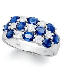 Macy's - Blue 14k White Gold Ring, Sapphire (2-1/2 Ct. T.w.) And Diamond (1/2 Ct. T.w.) Three-row Ring - Lyst