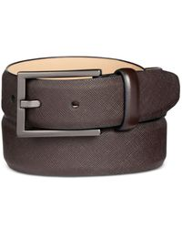 Alfani | Brown Men's Faux Saffiano Dress Belt for Men | Lyst