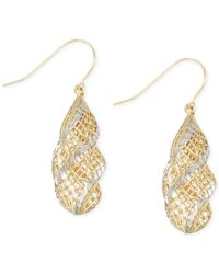 Macy's - Metallic Two-tone Openwork Drop Earrings In 14k Gold - Lyst
