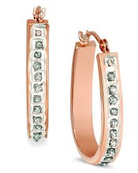 Macy's | Metallic 14k Rose, Yellow, Or White Gold Diamond Accent Pear-shaped Hoop Earrings | Lyst