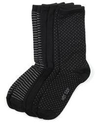 Hot Sox | Black Women's Comfort Polka Dot Trouser 3 Pack Socks | Lyst