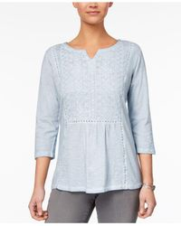 Style & Co. - Blue Petite Cotton Embroidered-bib Tunic - Lyst