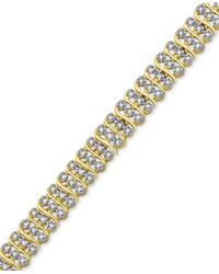 Macy's - Metallic Diamond Accent Three-row Link Bracelet In 18k Gold-plated Brass - Lyst