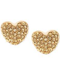 Michael Kors - Metallic Pavé Heart Stud Earrings - Lyst