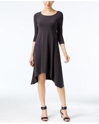 Alfani Black Knit Handkerchief-hem Dress, Created For Macy's