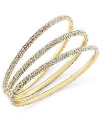 ABS By Allen Schwartz - Metallic Bracelet Set, Gold-tone Pave Bangle Bracelets - Lyst