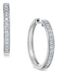 Macy's Diamond Hoop Earrings (1/2 Ct. T.w.) In 14k White Or Yellow Gold
