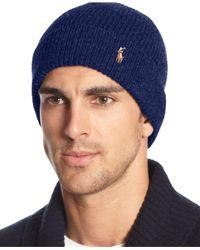 Polo Ralph Lauren - Blue Signature Merino Cuff Hat for Men - Lyst