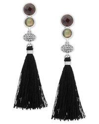 Lucky Brand - Black Silver-tone Multi-stone & Tassel Linear Drop Earrings - Lyst